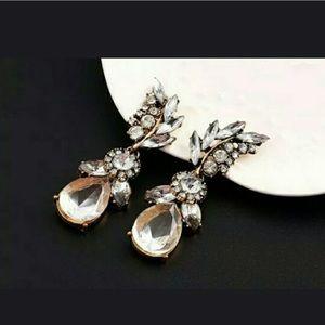White Crystal Leaf Earrings